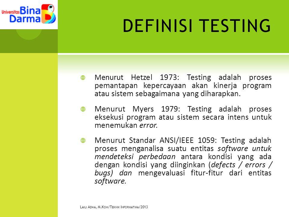 DEFINISI TESTING  Menurut Hetzel 1973: Testing adalah proses pemantapan kepercayaan akan kinerja program atau sistem sebagaimana yang diharapkan.  M