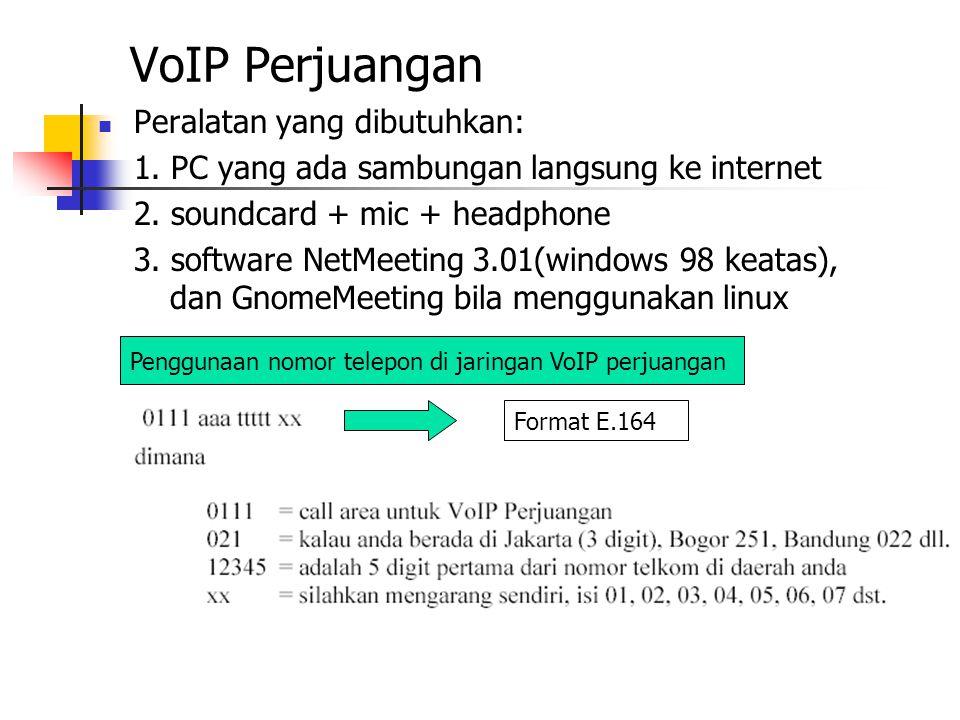 VoIP Perjuangan Peralatan yang dibutuhkan: 1. PC yang ada sambungan langsung ke internet 2. soundcard + mic + headphone 3. software NetMeeting 3.01(wi