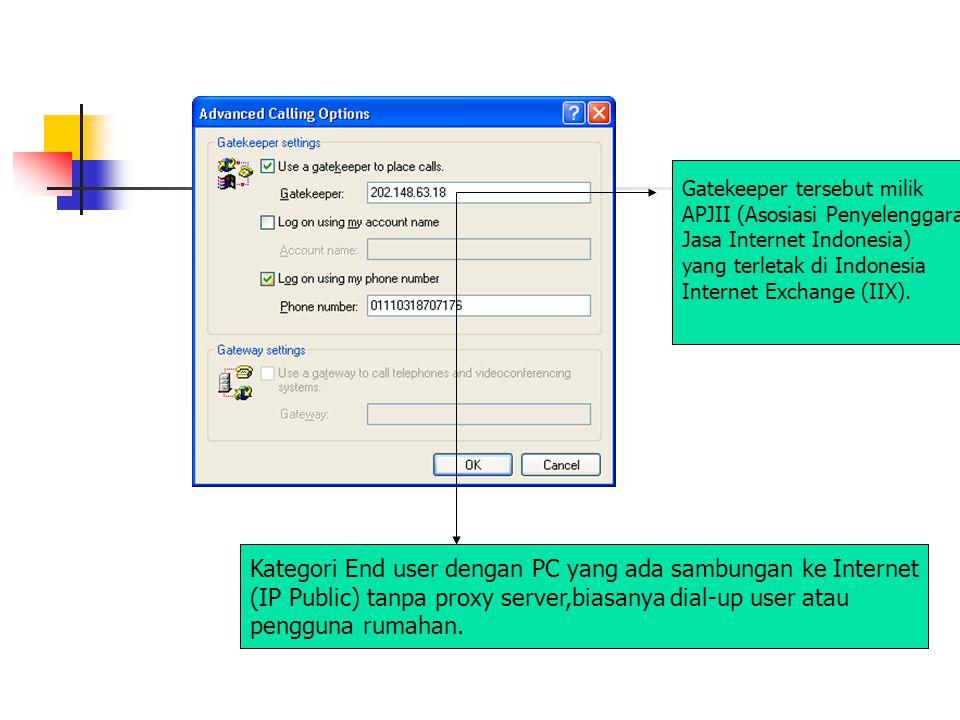 Gatekeeper tersebut milik APJII (Asosiasi Penyelenggara Jasa Internet Indonesia) yang terletak di Indonesia Internet Exchange (IIX). Kategori End user