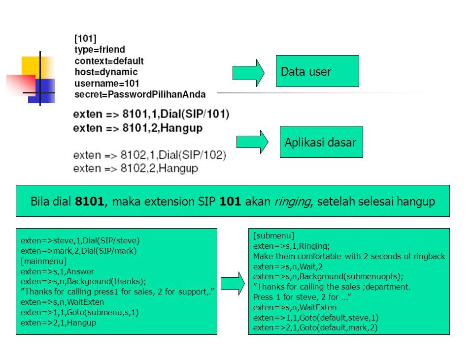 Bila dial 8101, maka extension SIP 101 akan ringing, setelah selesai hangup Aplikasi dasar Data user exten=>steve,1,Dial(SIP/steve) exten=>mark,2,Dial