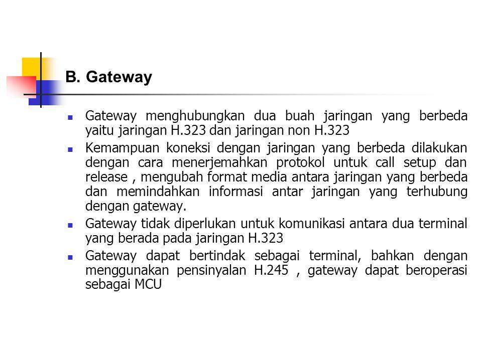 Gateway menghubungkan dua buah jaringan yang berbeda yaitu jaringan H.323 dan jaringan non H.323 Kemampuan koneksi dengan jaringan yang berbeda dilaku