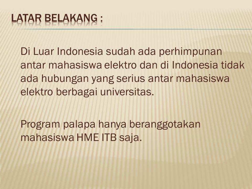 Di Luar Indonesia sudah ada perhimpunan antar mahasiswa elektro dan di Indonesia tidak ada hubungan yang serius antar mahasiswa elektro berbagai unive