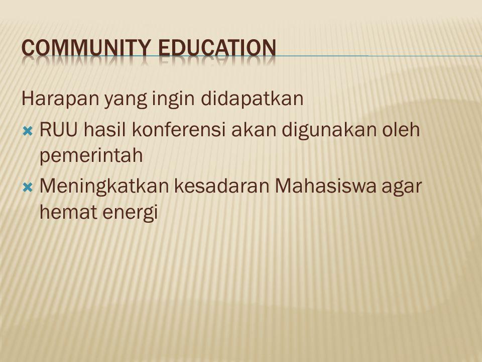 Harapan yang ingin didapatkan  RUU hasil konferensi akan digunakan oleh pemerintah  Meningkatkan kesadaran Mahasiswa agar hemat energi