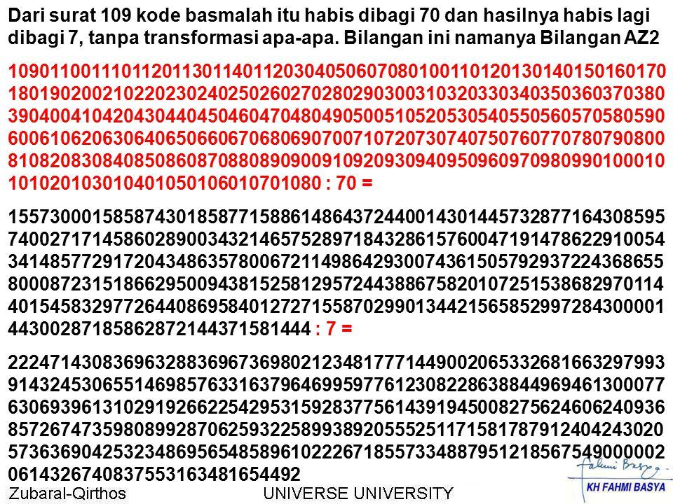 Dari surat 109 kode basmalah itu habis dibagi 70 dan hasilnya habis lagi dibagi 7, tanpa transformasi apa-apa. Bilangan ini namanya Bilangan AZ2 10901