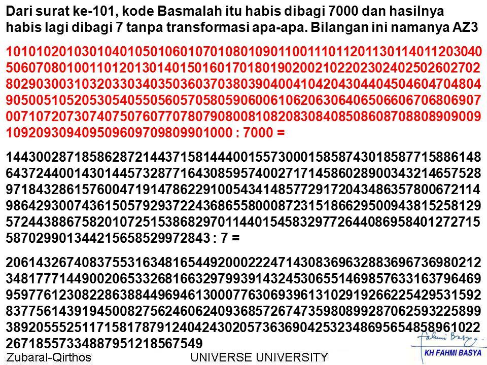 Dari surat ke-101, kode Basmalah itu habis dibagi 7000 dan hasilnya habis lagi dibagi 7 tanpa transformasi apa-apa. Bilangan ini namanya AZ3 101010201