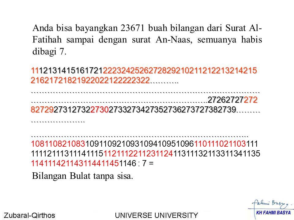 Anda bisa bayangkan 23671 buah bilangan dari Surat Al- Fatihah sampai dengan surat An-Naas, semuanya habis dibagi 7. 111213141516172122232425262728292