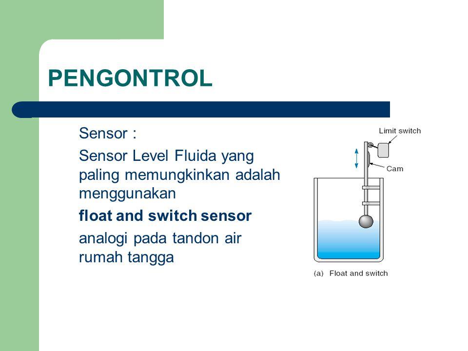 PENGONTROL Sensor : Sensor Level Fluida yang paling memungkinkan adalah menggunakan float and switch sensor analogi pada tandon air rumah tangga