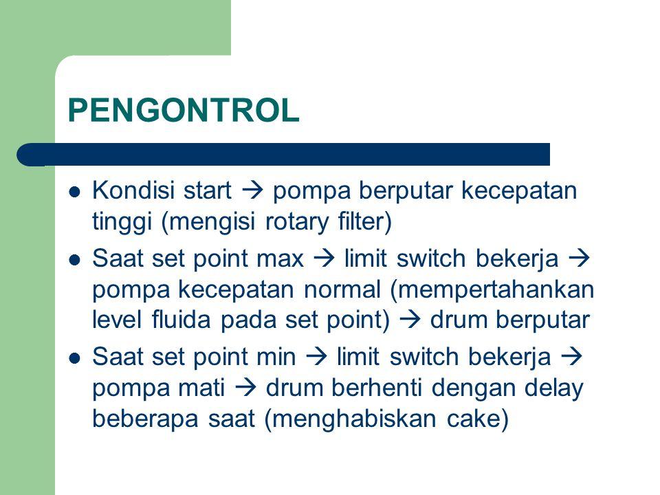 PENGONTROL Kondisi start  pompa berputar kecepatan tinggi (mengisi rotary filter) Saat set point max  limit switch bekerja  pompa kecepatan normal