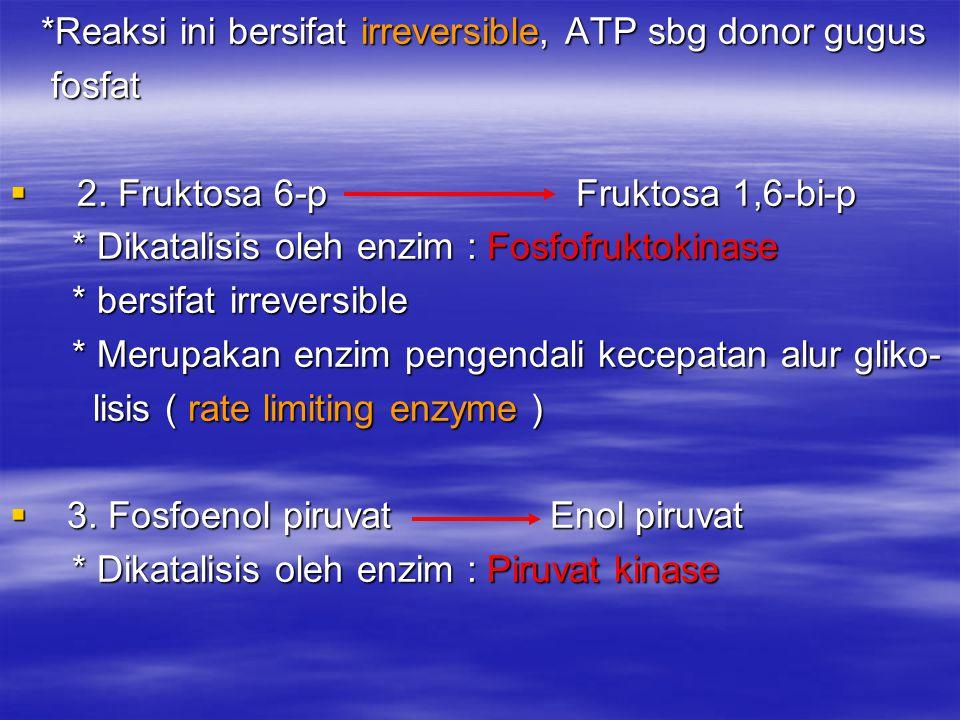 *Reaksi ini bersifat irreversible, ATP sbg donor gugus *Reaksi ini bersifat irreversible, ATP sbg donor gugus fosfat fosfat  2. Fruktosa 6-p Fruktosa