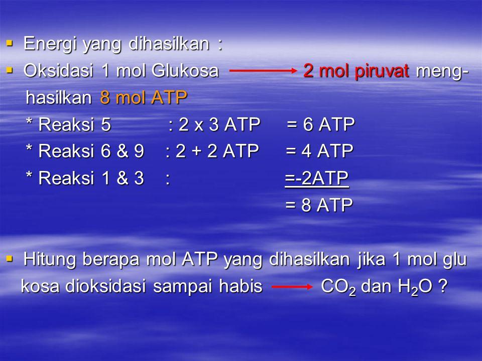  Energi yang dihasilkan :  Oksidasi 1 mol Glukosa 2 mol piruvat meng- hasilkan 8 mol ATP hasilkan 8 mol ATP * Reaksi 5 : 2 x 3 ATP = 6 ATP * Reaksi