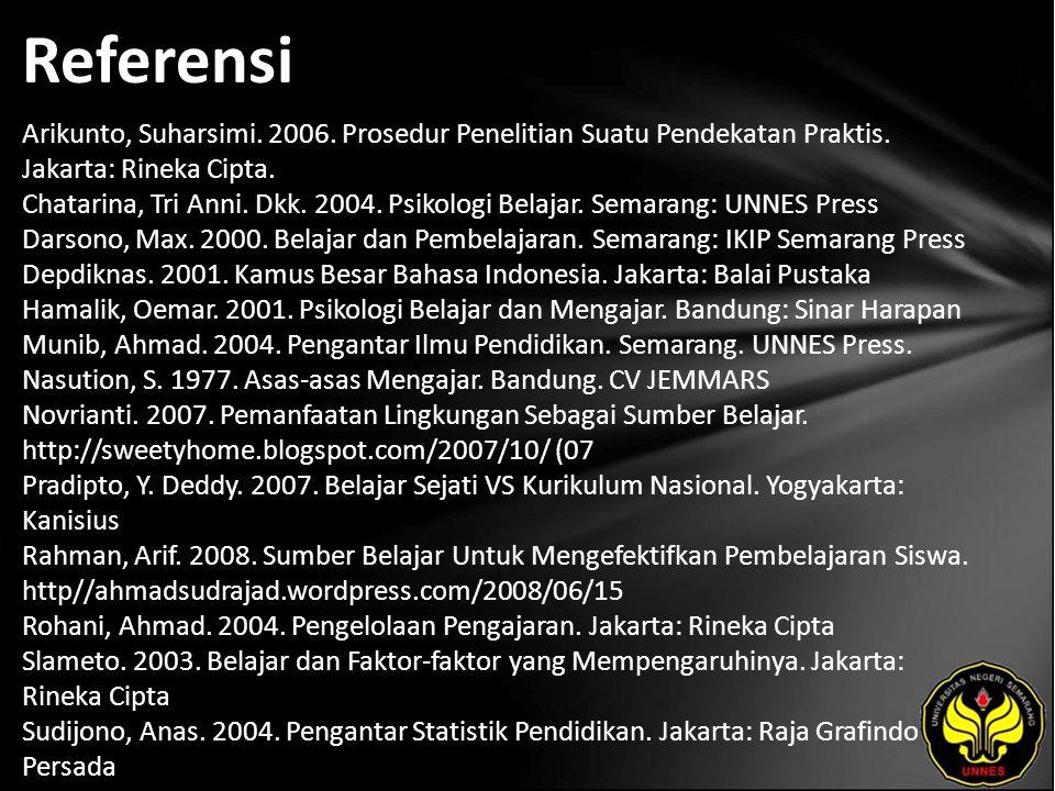 Referensi Arikunto, Suharsimi. 2006. Prosedur Penelitian Suatu Pendekatan Praktis.