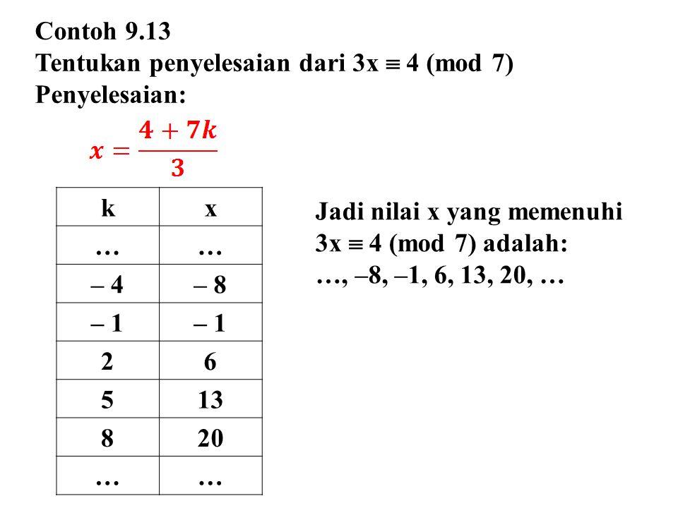 Contoh 9.13 Tentukan penyelesaian dari 3x  4 (mod 7) Penyelesaian: kx …… – 4– 8 – 1 26 513 820 …… Jadi nilai x yang memenuhi 3x  4 (mod 7) adalah: …, –8, –1, 6, 13, 20, …