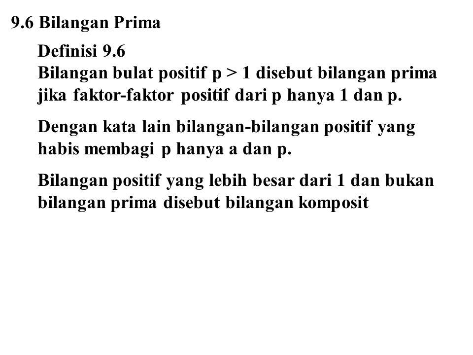 9.6 Bilangan Prima Definisi 9.6 Bilangan bulat positif p > 1 disebut bilangan prima jika faktor-faktor positif dari p hanya 1 dan p. Dengan kata lain
