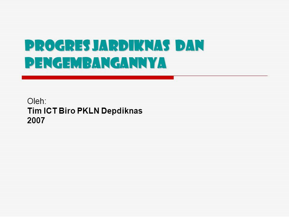 Progres JARDIKNAS dan PENgembangannya Oleh: Tim ICT Biro PKLN Depdiknas 2007