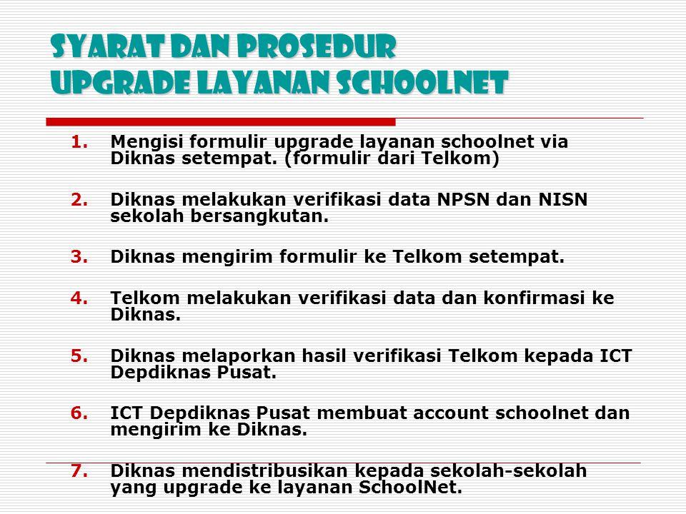 Syarat dan Prosedur Upgrade layanan SchoolNet 1.Mengisi formulir upgrade layanan schoolnet via Diknas setempat. (formulir dari Telkom) 2.Diknas melaku