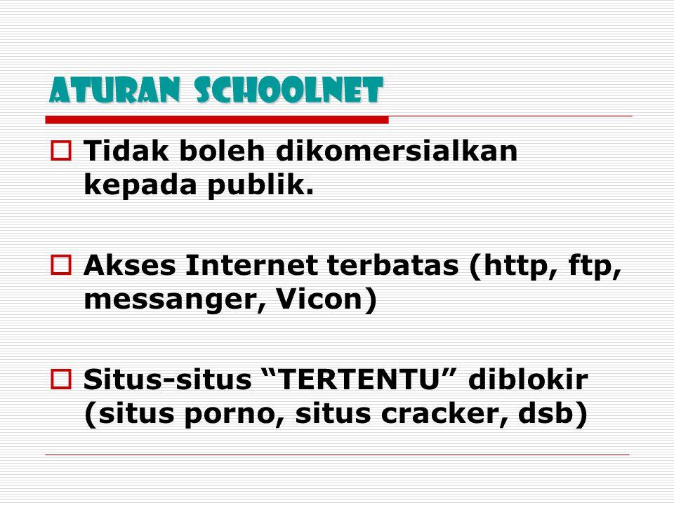 """Aturan SchoolNet  Tidak boleh dikomersialkan kepada publik.  Akses Internet terbatas (http, ftp, messanger, Vicon)  Situs-situs """"TERTENTU"""" diblokir"""
