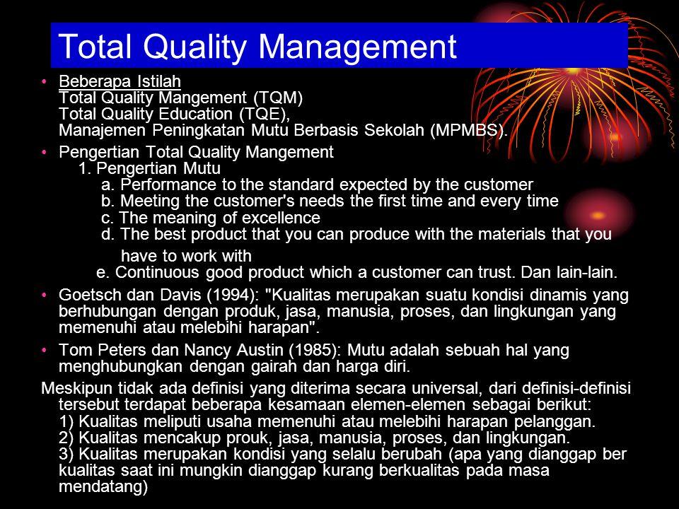 Total Quality Management Beberapa Istilah Total Quality Mangement (TQM) Total Quality Education (TQE), Manajemen Peningkatan Mutu Berbasis Sekolah (MPMBS).