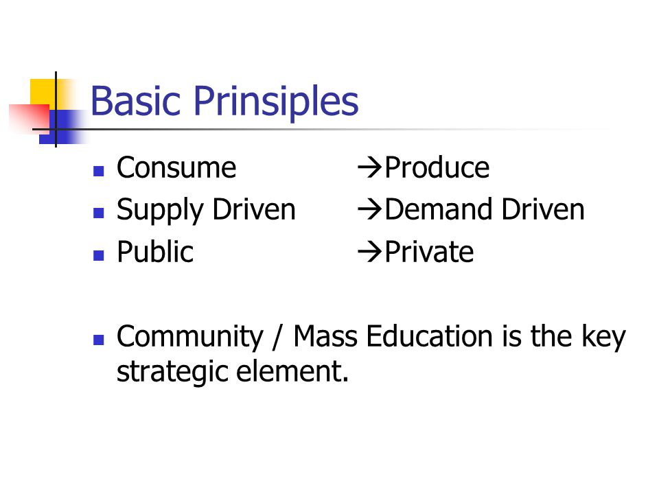Basic Prinsiples Consume  Produce Supply Driven  Demand Driven Public  Private Community / Mass Education is the key strategic element.