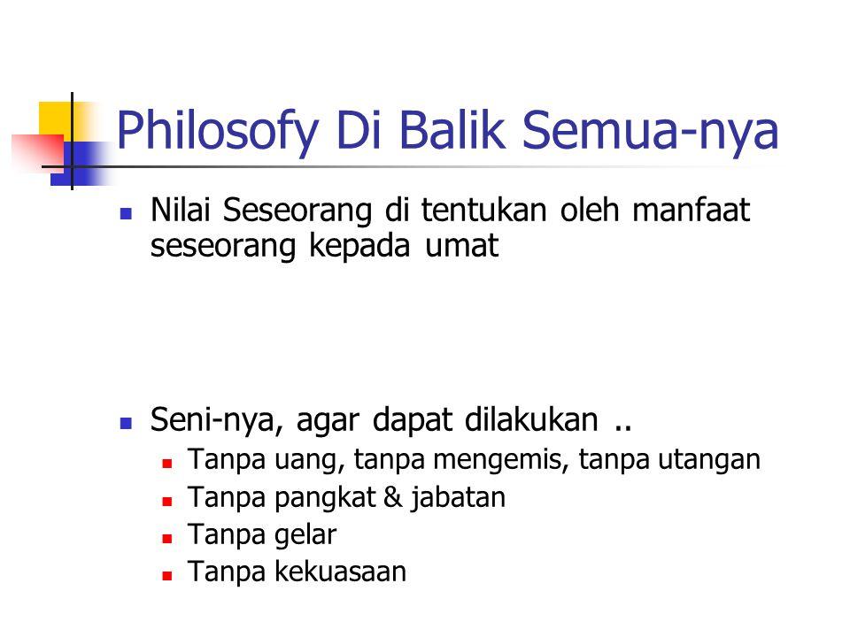 Philosofy Di Balik Semua-nya Nilai Seseorang di tentukan oleh manfaat seseorang kepada umat Seni-nya, agar dapat dilakukan..