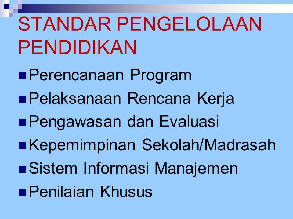 STANDAR PENGELOLAAN PENDIDIKAN Perencanaan Program Pelaksanaan Rencana Kerja Pengawasan dan Evaluasi Kepemimpinan Sekolah/Madrasah Sistem Informasi Ma