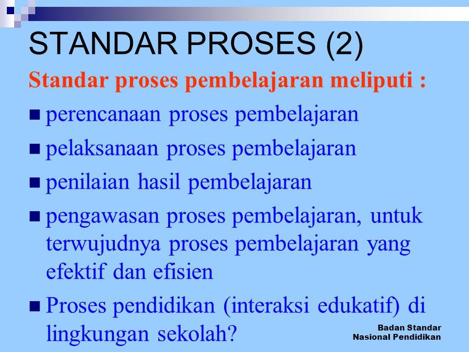 Badan Standar Nasional Pendidikan Standar proses pembelajaran meliputi : perencanaan proses pembelajaran pelaksanaan proses pembelajaran penilaian has