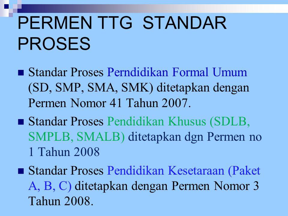 PERMEN TTG STANDAR PROSES Standar Proses Perndidikan Formal Umum (SD, SMP, SMA, SMK) ditetapkan dengan Permen Nomor 41 Tahun 2007. Standar Proses Pend