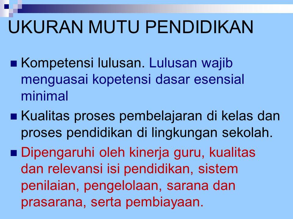 DASAR PENETAPAN 8 SNP Undang-Undang Republik Indonesia Nomor 20 Tahun 2003 Ttg SISDIKNAS, pasal 35 ayat:  (1) SNP terdiri atas standar isi, proses, kompetensi lulusan, tenaga kependidikan, sarana dan prasarana, pengelolaan, pembiayaan, dan penilaian pendidikan yg harus ditingkatkan secara berencana dan berkala.