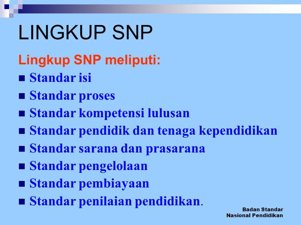Badan Standar Nasional Pendidikan LINGKUP SNP Lingkup SNP meliputi: Standar isi Standar proses Standar kompetensi lulusan Standar pendidik dan tenaga