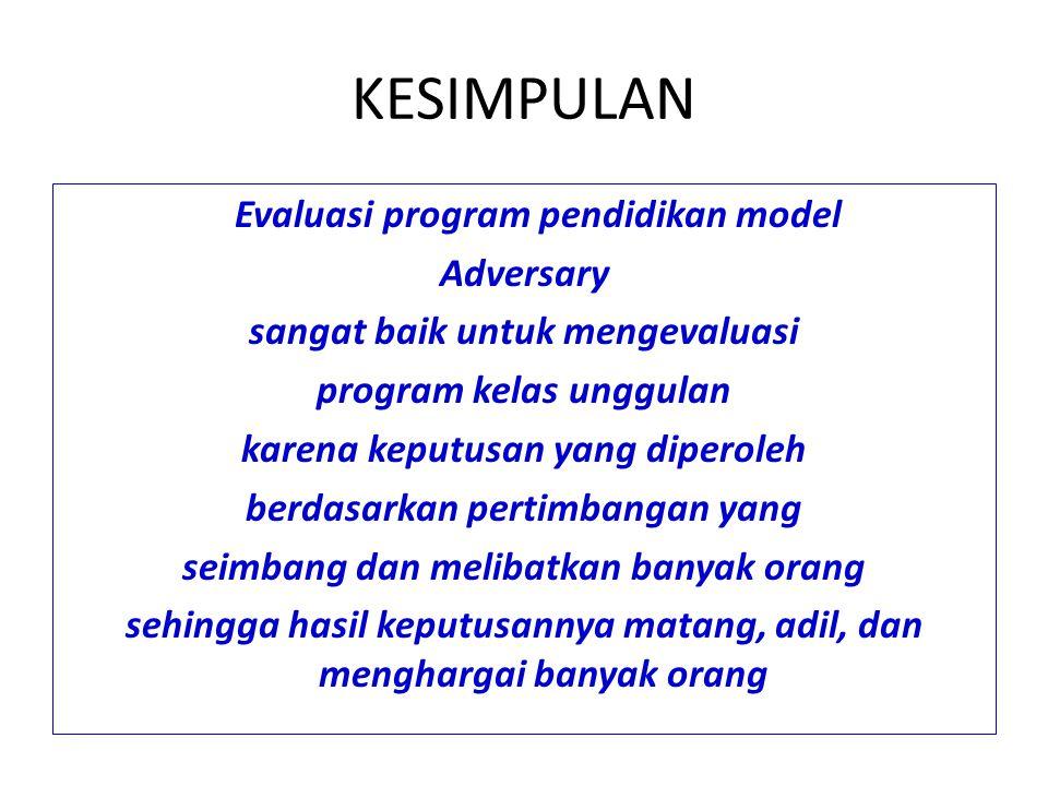 KEPUTUSAN Program kelas unggulan telah dievaluasi menggunakan evaluasi program pendidikan model Adversary yang membagi dua kelompok evaluator pro prog