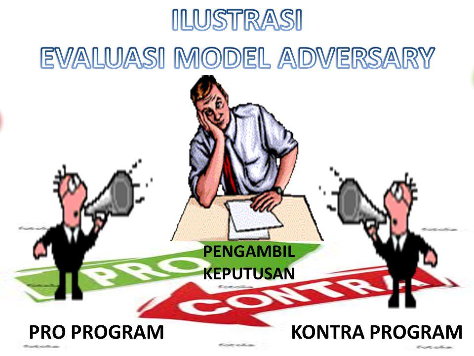 EVALUASI MODEL ADVERSARY ADVERSARY EVALUATION MODEL salah satu model evaluasi yang dalam pelaksanaannya evaluator dibagi atas dua tim yaitu tim yang p