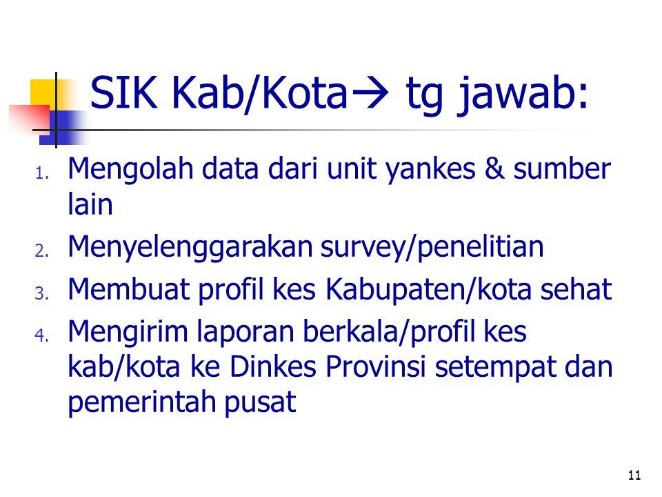 11 SIK Kab/Kota  tg jawab: 1.Mengolah data dari unit yankes & sumber lain 2.