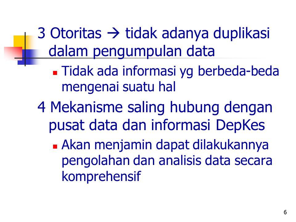 6 3 Otoritas  tidak adanya duplikasi dalam pengumpulan data Tidak ada informasi yg berbeda-beda mengenai suatu hal 4 Mekanisme saling hubung dengan pusat data dan informasi DepKes Akan menjamin dapat dilakukannya pengolahan dan analisis data secara komprehensif