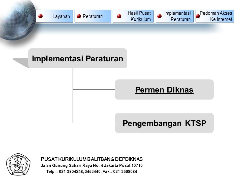 PUSAT KURIKULUM BALITBANG DEPDIKNAS Jalan Gunung Sahari Raya No. 4 Jakarta Pusat 10710 Telp. : 021-3804248, 3453440, Fax.: 021-3508084 Implementasi Pe