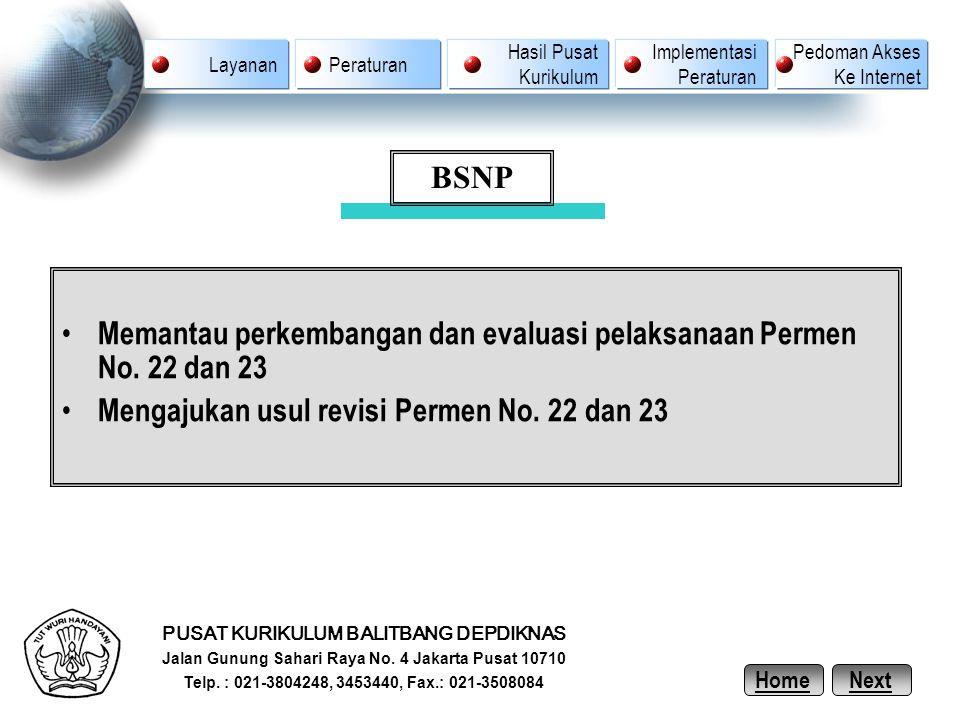 Memantau perkembangan dan evaluasi pelaksanaan Permen No. 22 dan 23 Mengajukan usul revisi Permen No. 22 dan 23 PUSAT KURIKULUM BALITBANG DEPDIKNAS Ja