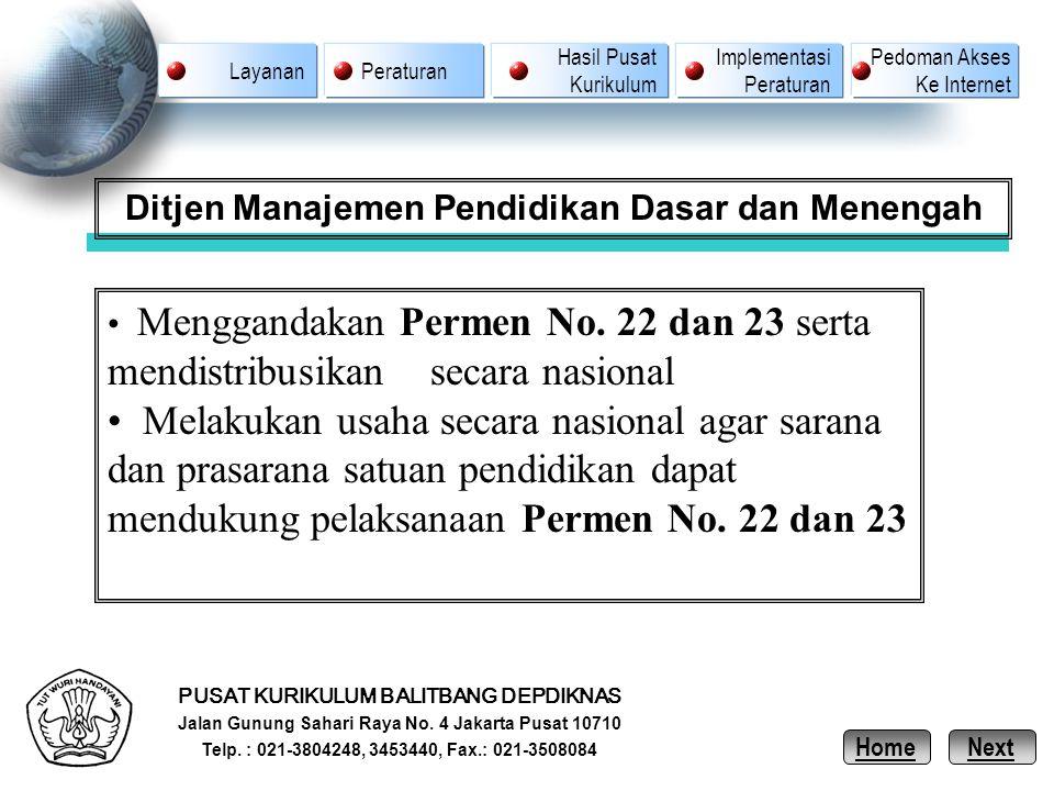PUSAT KURIKULUM BALITBANG DEPDIKNAS Jalan Gunung Sahari Raya No. 4 Jakarta Pusat 10710 Telp. : 021-3804248, 3453440, Fax.: 021-3508084 Ditjen Manajeme