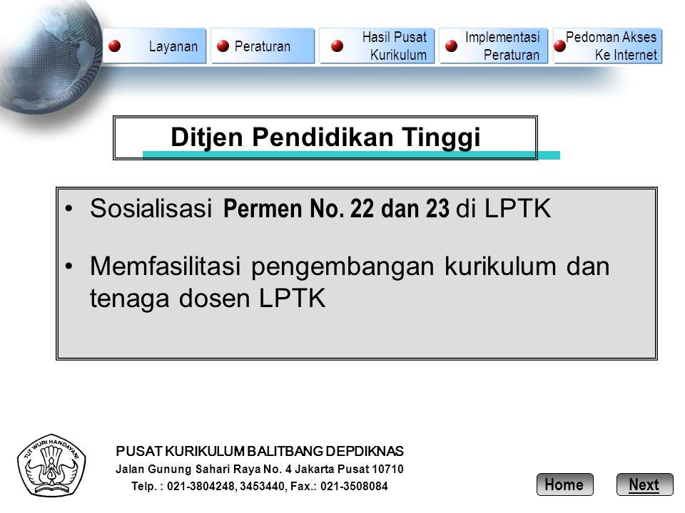 PUSAT KURIKULUM BALITBANG DEPDIKNAS Jalan Gunung Sahari Raya No. 4 Jakarta Pusat 10710 Telp. : 021-3804248, 3453440, Fax.: 021-3508084 Ditjen Pendidik