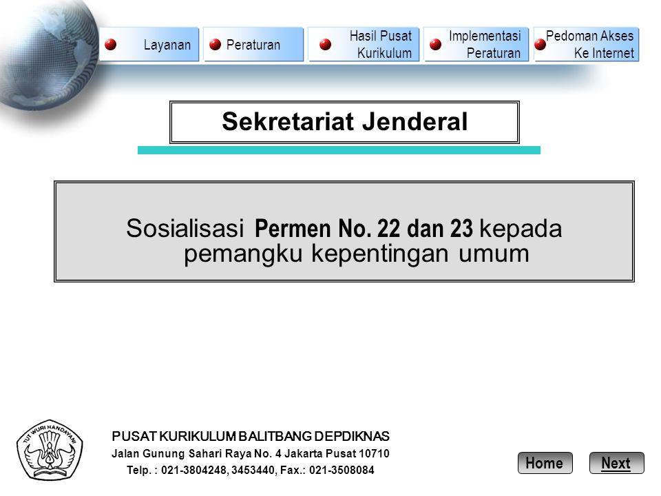 PUSAT KURIKULUM BALITBANG DEPDIKNAS Jalan Gunung Sahari Raya No. 4 Jakarta Pusat 10710 Telp. : 021-3804248, 3453440, Fax.: 021-3508084 Sekretariat Jen