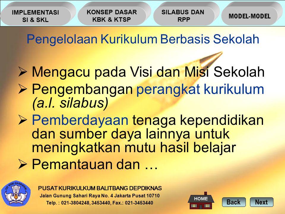 NextBack PUSAT KURIKULKUM BALITBANG DEPDIKNAS Jalan Gunung Sahari Raya No.