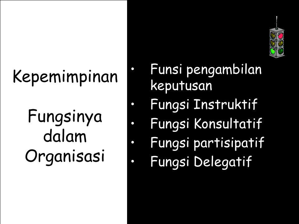 Kepemimpinan Fungsinya dalam Organisasi Funsi pengambilan keputusan Fungsi Instruktif Fungsi Konsultatif Fungsi partisipatif Fungsi Delegatif