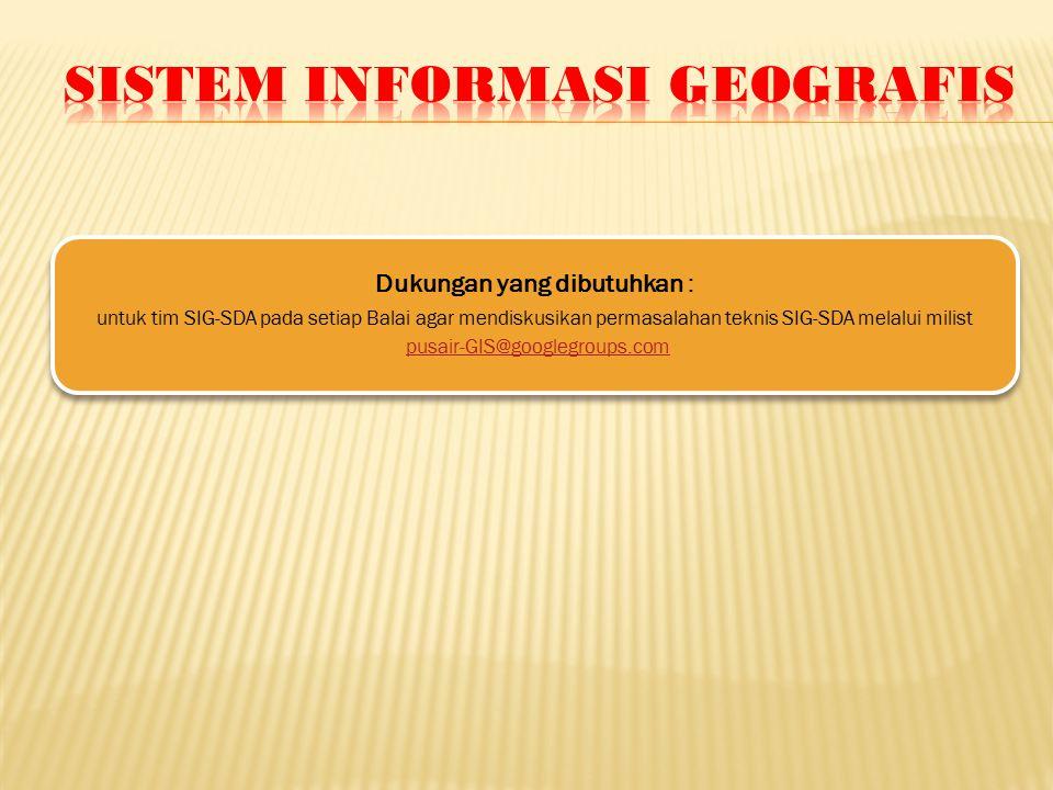 Dukungan yang dibutuhkan : untuk tim SIG-SDA pada setiap Balai agar mendiskusikan permasalahan teknis SIG-SDA melalui milist pusair-GIS@googlegroups.com
