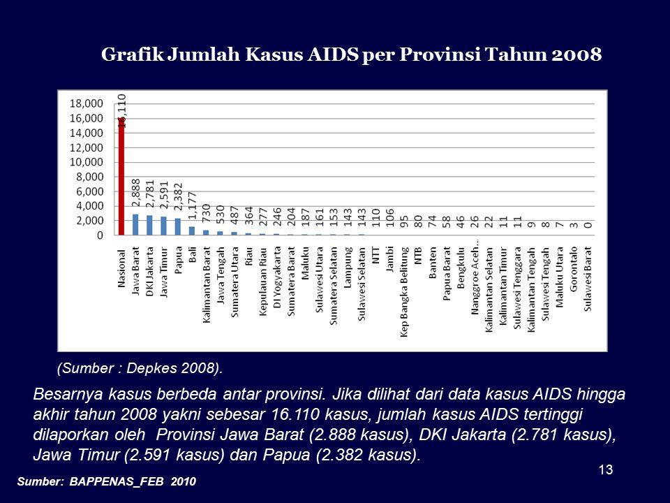 13 Grafik Jumlah Kasus AIDS per Provinsi Tahun 2008 Besarnya kasus berbeda antar provinsi. Jika dilihat dari data kasus AIDS hingga akhir tahun 2008 y