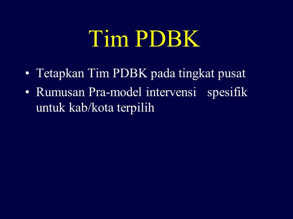 Tim PDBK Tetapkan Tim PDBK pada tingkat pusat Rumusan Pra-model intervensi spesifik untuk kab/kota terpilih