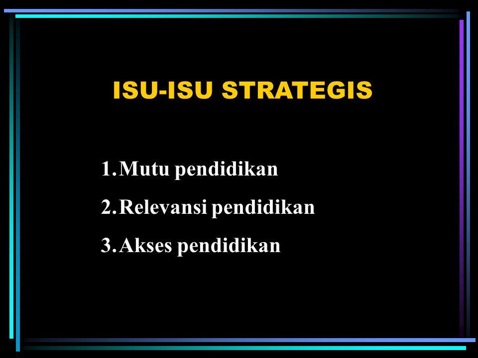 ISU-ISU STRATEGIS 1.Mutu pendidikan 2.Relevansi pendidikan 3.Akses pendidikan