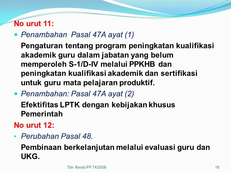 No urut 11: Penambahan Pasal 47A ayat (1) Pengaturan tentang program peningkatan kualifikasi akademik guru dalam jabatan yang belum memperoleh S-1/D-I