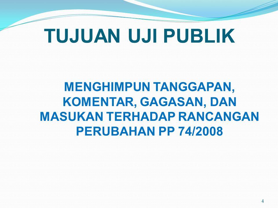 5 SKENARIO UJI PUBLIK PLENO I PLENO II & III KERJA INDIVIDUAL 1.PEMBUKAAN 2.PAPARAN NARASUMBER 1.DISKUSI 2.PENUTUPAN PUKUL 09.00 S.D 10.15 PEMBERIAN MASUKAN/TANGGAPAN (secara perorangan) PESERTA: DINAS PENDIDIKAN, DPRD, PIMPINAN LPTK, PAKAR, ASOSIASI PROFESI, PENYELENGGARA PENDIDIKAN/YAYASAN, GURU/ KEPALA SEKOLAH, DEWAN PENDIDIKAN, KOMITE SEKOLAH PUKUL 10.30 S.D 12.00 PUKUL 13.00 – 15.00