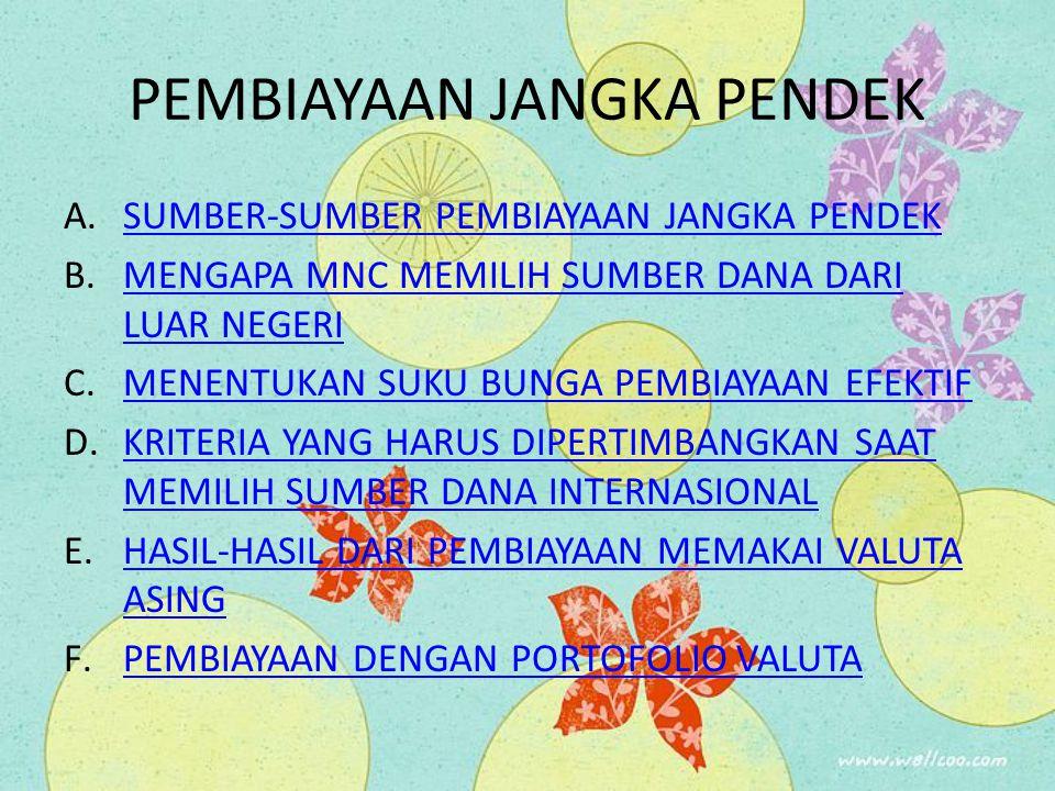 PEMBIAYAAN JANGKA PENDEK A.SUMBER-SUMBER PEMBIAYAAN JANGKA PENDEKSUMBER-SUMBER PEMBIAYAAN JANGKA PENDEK B.MENGAPA MNC MEMILIH SUMBER DANA DARI LUAR NE