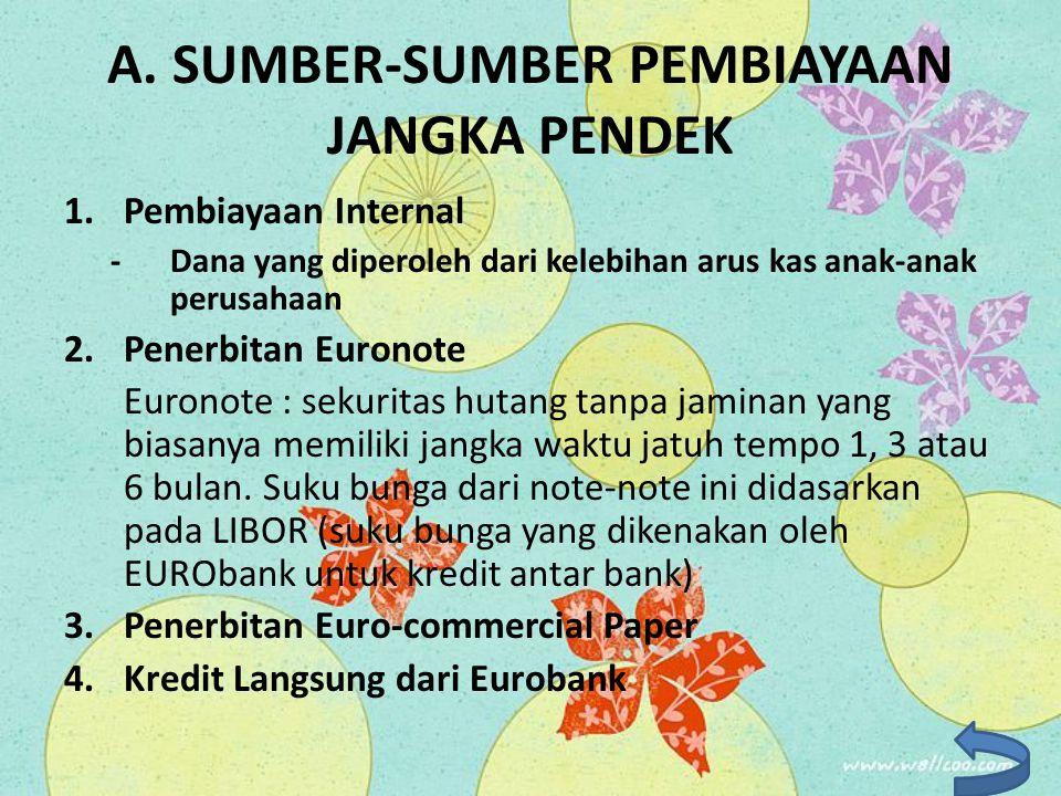 A. SUMBER-SUMBER PEMBIAYAAN JANGKA PENDEK 1.Pembiayaan Internal - Dana yang diperoleh dari kelebihan arus kas anak-anak perusahaan 2.Penerbitan Eurono