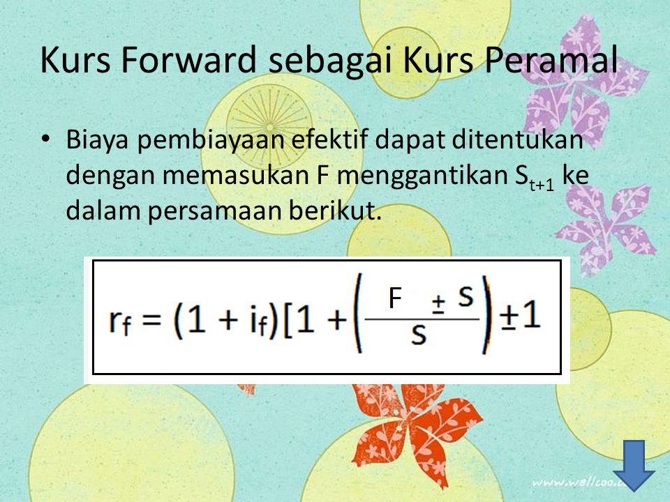 Kurs Forward sebagai Kurs Peramal Biaya pembiayaan efektif dapat ditentukan dengan memasukan F menggantikan S t+1 ke dalam persamaan berikut.