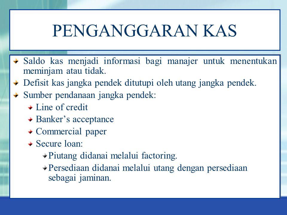 PENGANGGARAN KAS Saldo kas menjadi informasi bagi manajer untuk menentukan meminjam atau tidak.