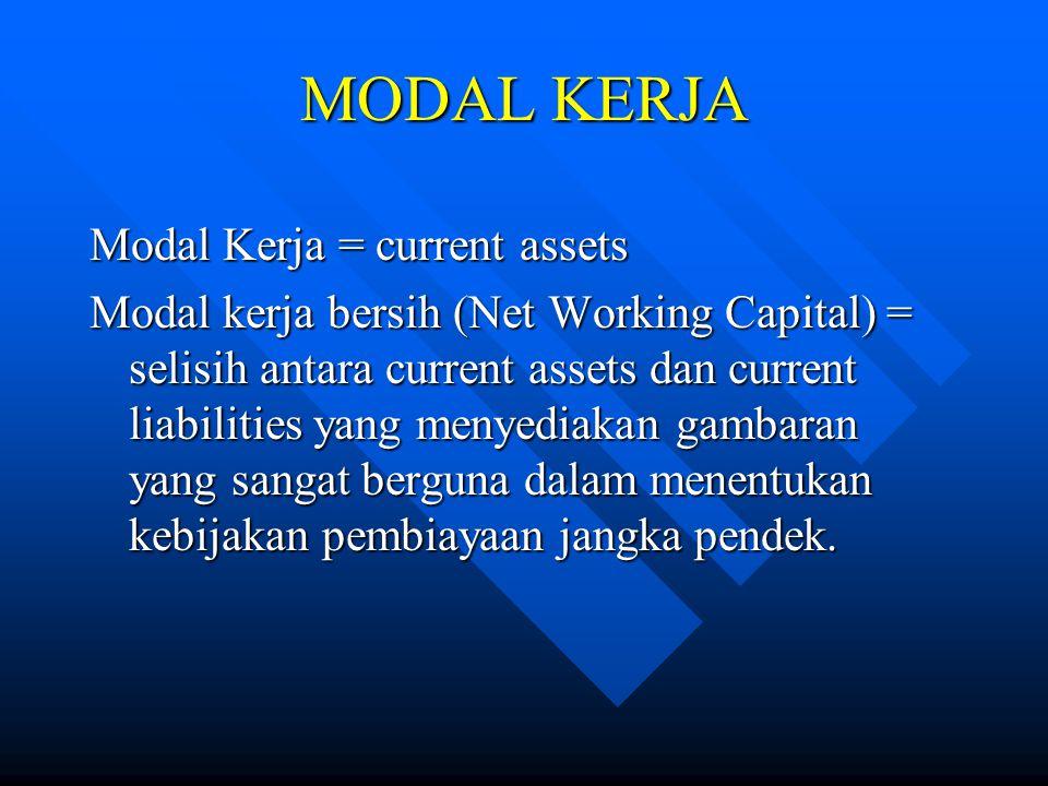 MODAL KERJA Modal Kerja = current assets Modal kerja bersih (Net Working Capital) = selisih antara current assets dan current liabilities yang menyedi